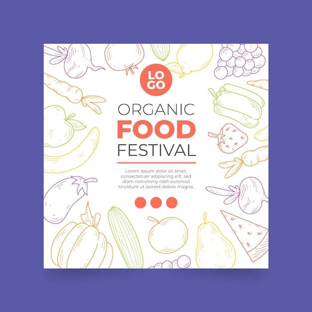 Biologisch voedsel folder sjabloon Premium Vector