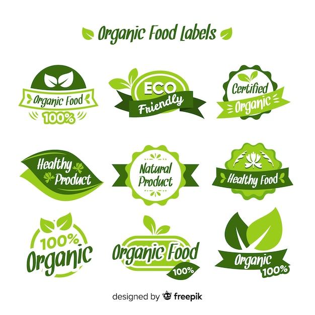 Biologisch voedseletiketinzameling Gratis Vector