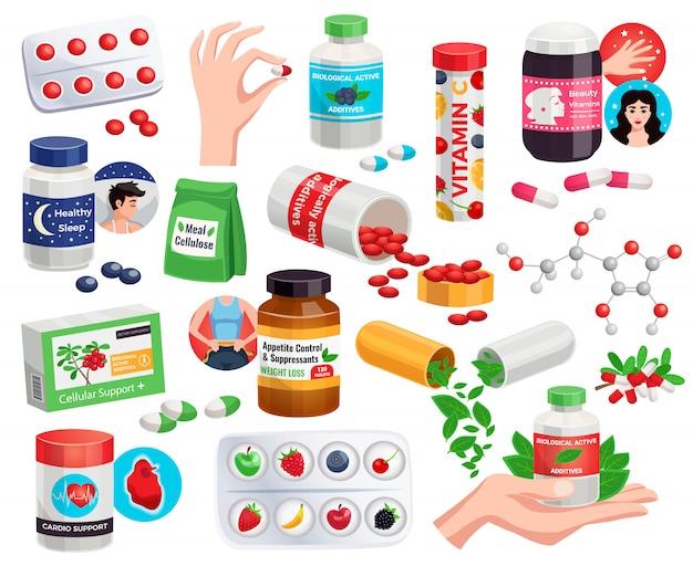 Biologische actieve additieven set schoonheid vitamines eetlust controle cardio ondersteuning antioxidant pillen geïsoleerde illustratie Gratis Vector