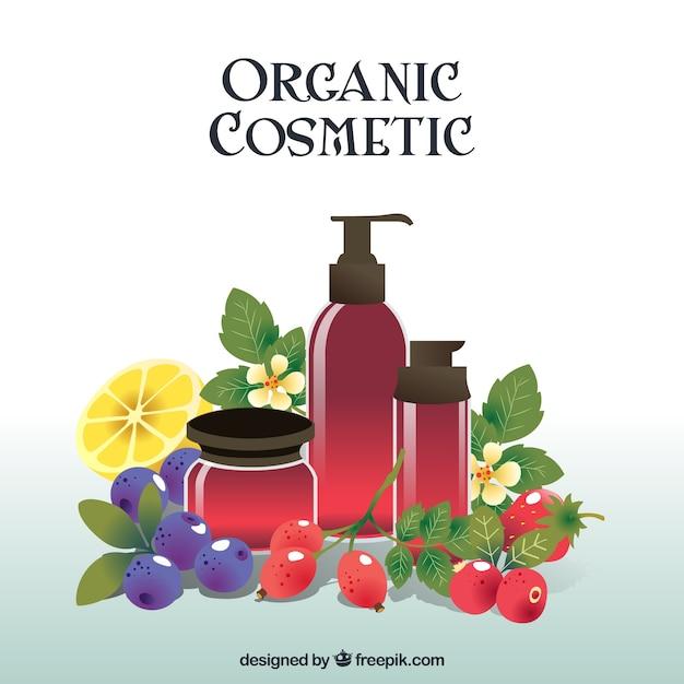 Biologische cosmetica, realistische stijl Gratis Vector