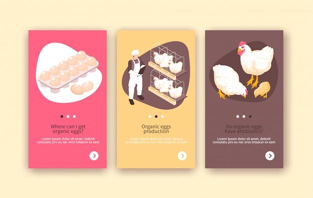 Biologische eieren en kippenvleesproductie 3 isometrische verticale pluimveebedrijf kleurrijke achtergrond banners geïsoleerd Gratis Vector