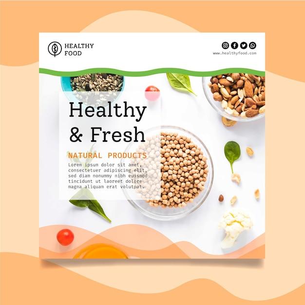 Biologische en gezonde voeding kwadraat flyer Gratis Vector