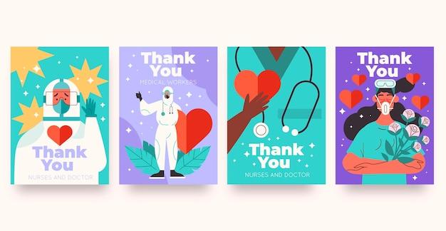 Biologische flat bedankt artsen en verpleegsters ansichtkaartenset Gratis Vector