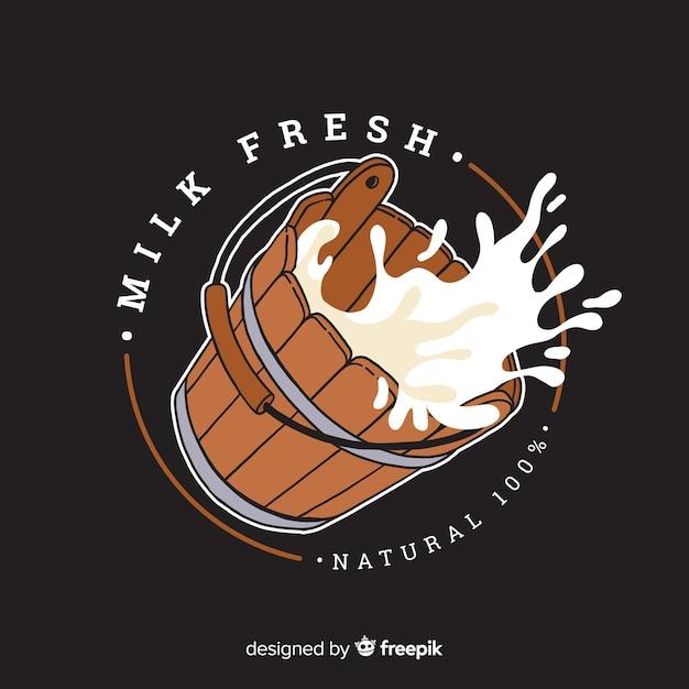 Biologische melk emmer logo sjabloon Gratis Vector