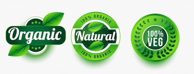 Biologische natuurlijke vegetarische productetiketten ingesteld Gratis Vector