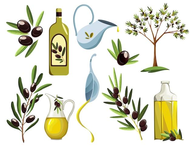 Biologische olijfproducten ingesteld. olie-elementen. Premium Vector