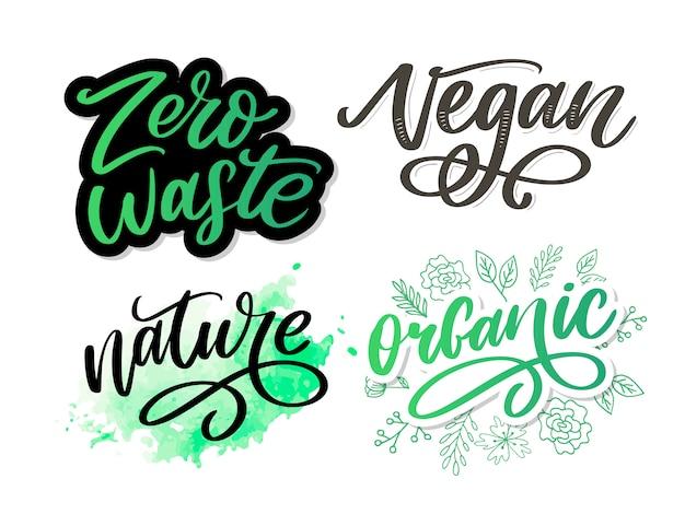 Biologische penseel belettering. hand getekend woord biologisch met groene bladeren. label, logo sjabloon voor biologische producten, markten voor gezonde voeding. Premium Vector