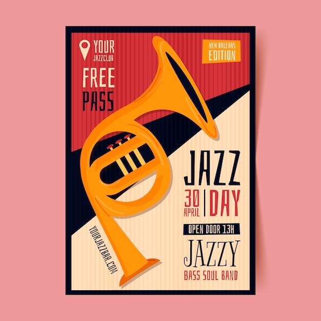 Biologische platte internationale jazz dag poster sjabloon Gratis Vector