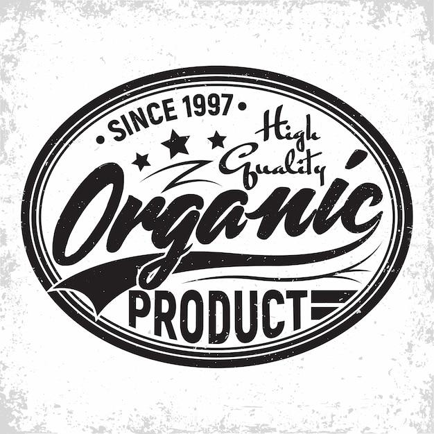 Biologische producten vintage label, natuurlijke producten embleem, grange print stempel, biologische producties typografie embleem, Premium Vector