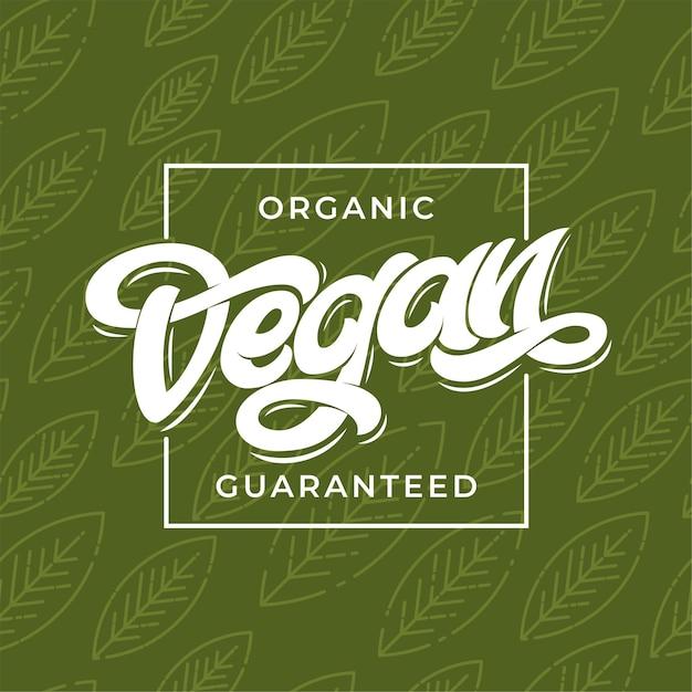 Biologische vegan gegarandeerde typografie. Premium Vector