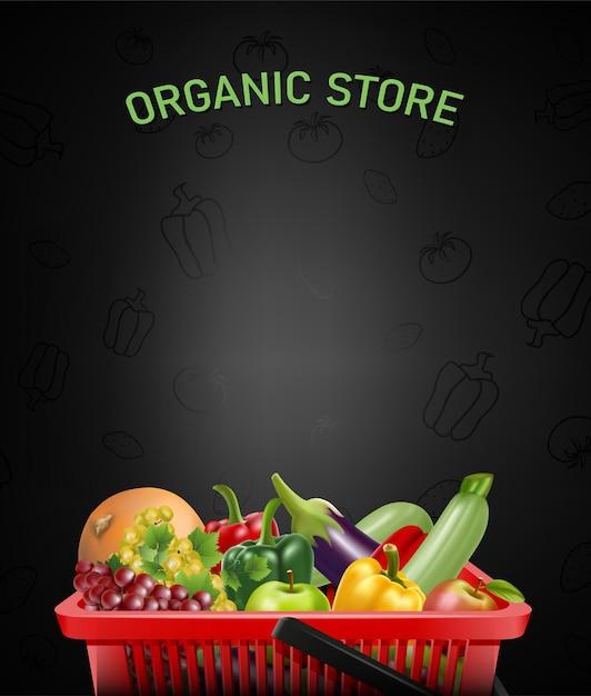 Biologische winkel illustratie met realistische winkelen rode mand en groenten en fruit binnen. Premium Vector