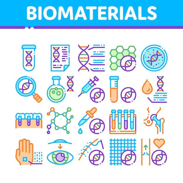 Biomaterialen pictogrammen collectie Premium Vector