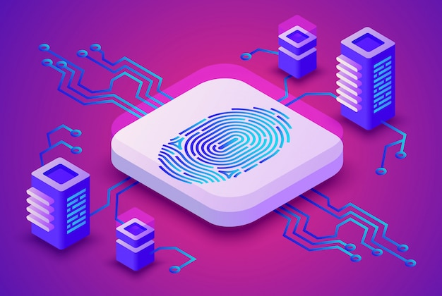 Biometrics blockchain-technologieillustratie van digitale vingerafdrukveiligheid voor cryptocurrency Gratis Vector