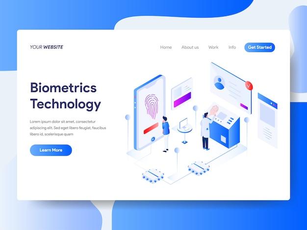 Biometrie technologie isometrisch voor website pagina Premium Vector