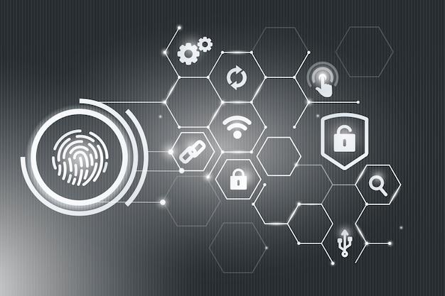 Biometrisch beveiligingsconcept Gratis Vector