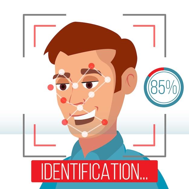 Biometrische gezichtsidentificatie Premium Vector