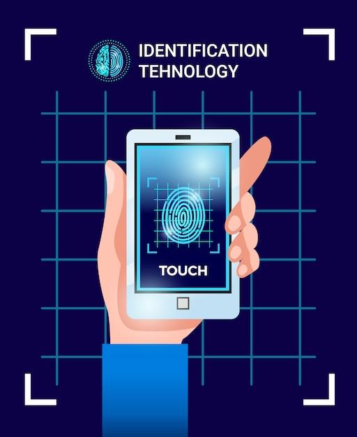 Biometrische identificatie gebruiker technologieën poster met hand met smartphone met touchscreen id wachtwoord vingerafdruk afbeelding Gratis Vector