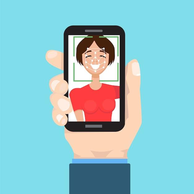 Biometrische identificatie, gezichtsherkenningssysteem systeemconcept. smartphone in de hand. Premium Vector
