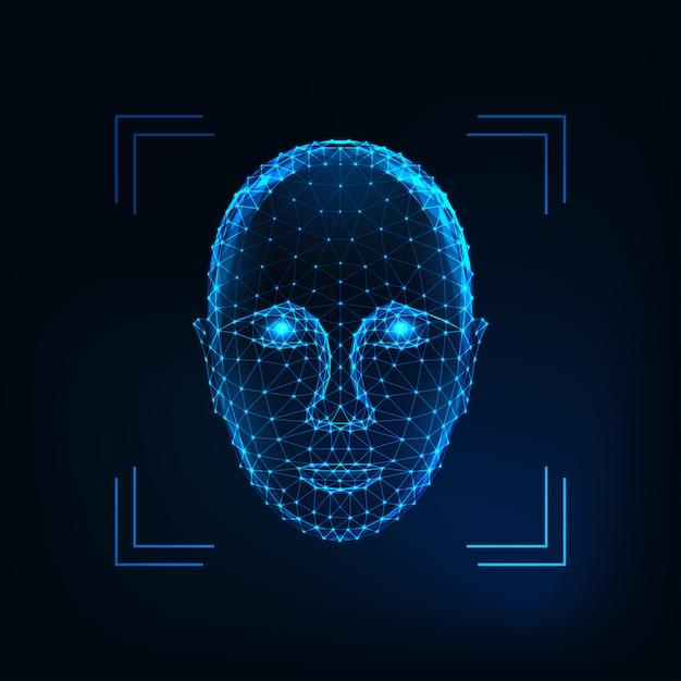 Biometrische persoonsidentificatie, gezichtsherkenningsconcept. futuristisch laag veelhoekig menselijk gezicht Premium Vector
