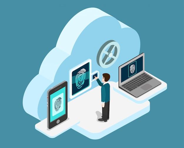 Biometrische vingerafdruk identificatie internet beveiliging cloud authenticatie veilige data toegang concept isometrische illustratie. Gratis Vector