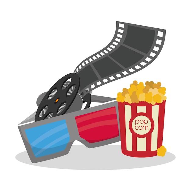 Bioscoop 3d bril reeelfilm emmer pop maïs Premium Vector