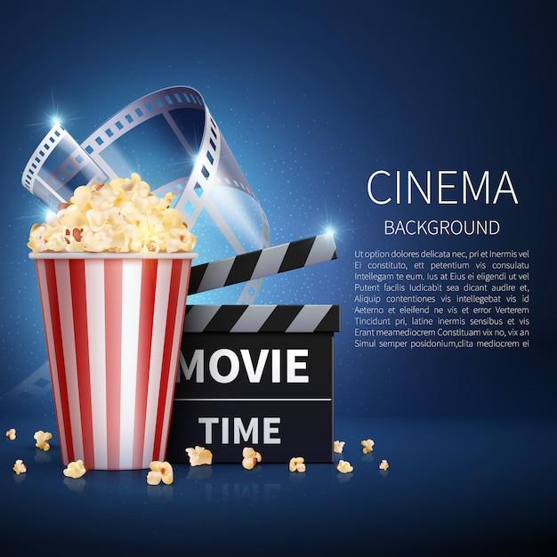 Bioscoop 3d film achtergrond met popcorn en vintage film. Premium Vector