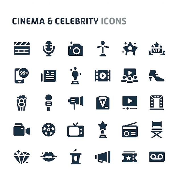 Bioscoop & beroemdheid icon set. fillio black icon-serie. Premium Vector