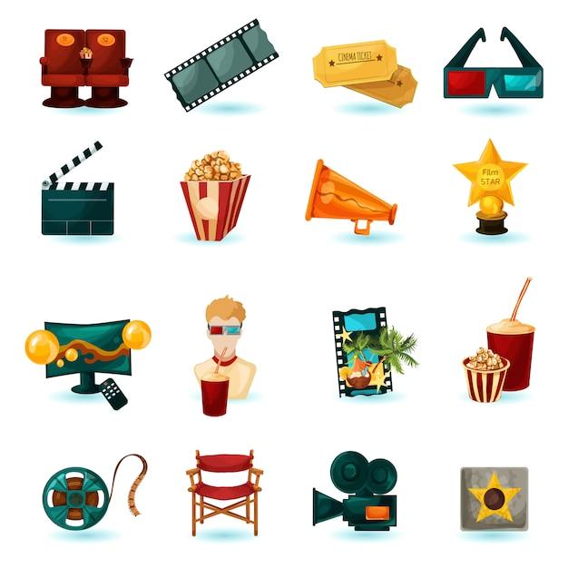 Bioscoop icons set Gratis Vector
