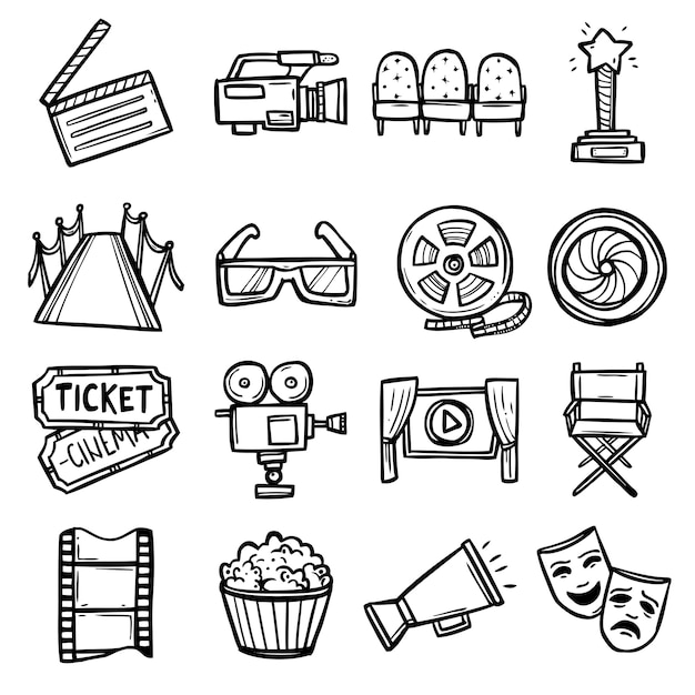 Bioscoop icons set Gratis Vector