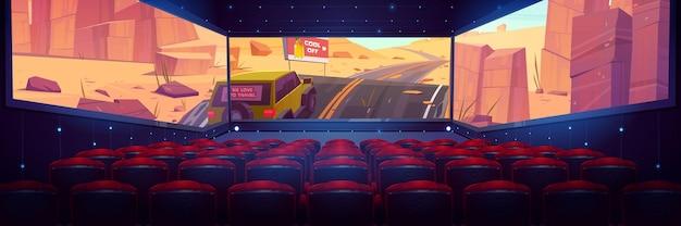 Bioscoop met driezijdig panoramisch scherm en rijen rode stoelen Gratis Vector