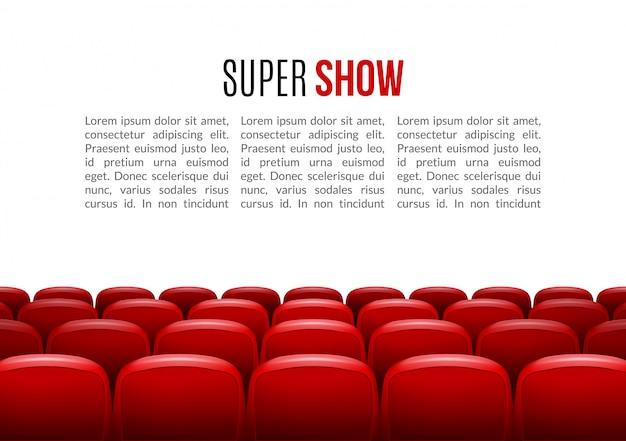 Bioscoop met rij van rode zetels achtergrondmalplaatje Premium Vector