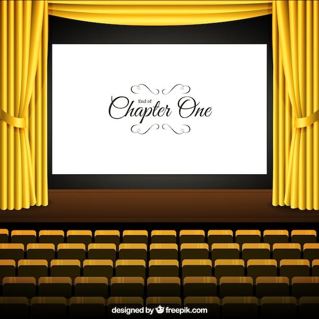 bioscoop met scherm en gele gordijnen gratis vector