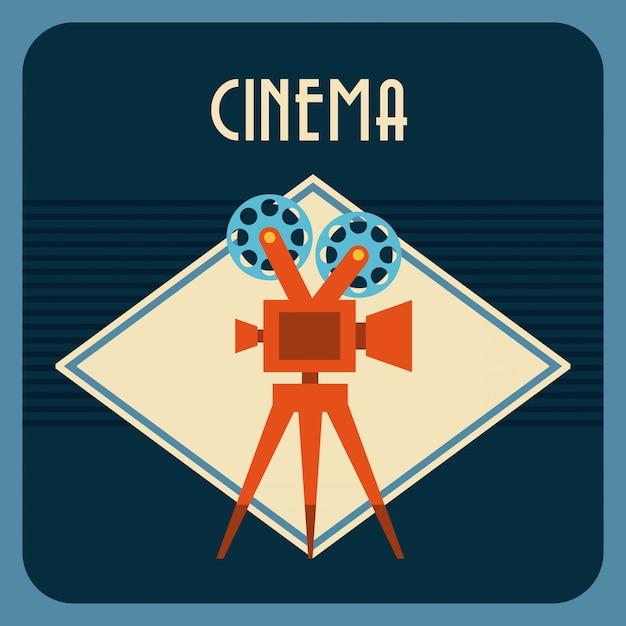 Bioscoop op blauwe achtergrond Gratis Vector