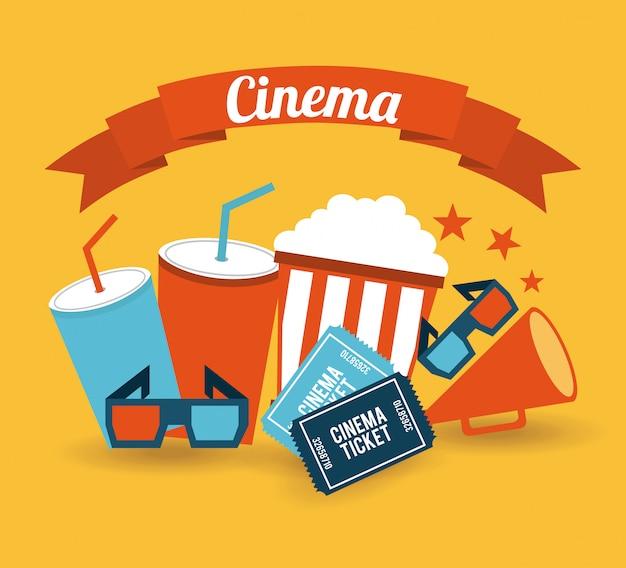 Bioscoop op oranje achtergrond Gratis Vector