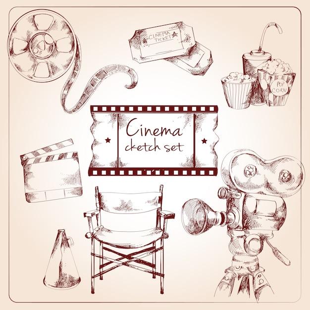 Bioscoop schets set Gratis Vector