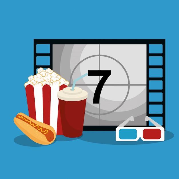 Bioscoop teller met pictogrammen Premium Vector