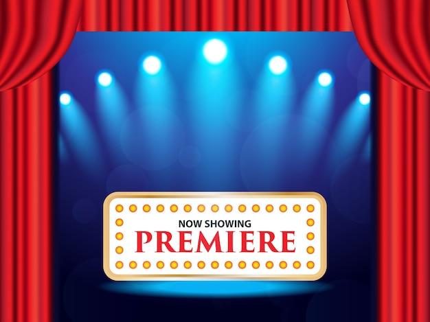 Bioscoop theater retro teken op gordijn met schijnwerpers Premium Vector