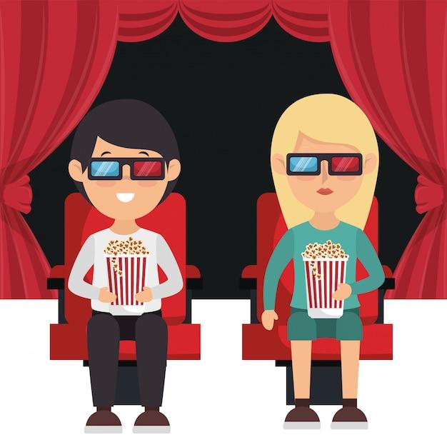 Bioscoopmensen eten popcorn en kijken naar een film 3d Gratis Vector
