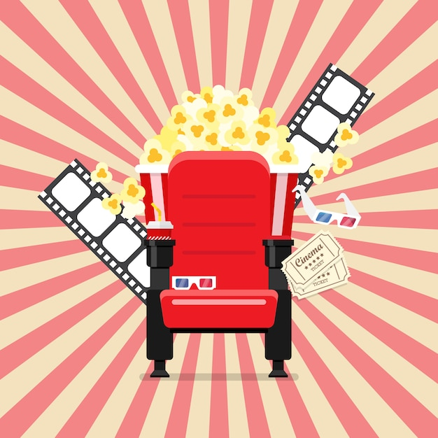 Bioscoopstoelen in een bioscoop met popcorndrankjes en glazen Premium Vector