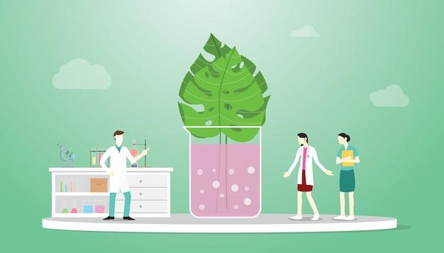 Biotech plant blad technologie-analyse met arts onderzoek concept Premium Vector