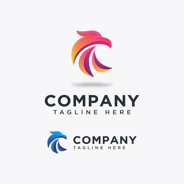 Bird falcon logo template ilustration pictogram Premium Vector