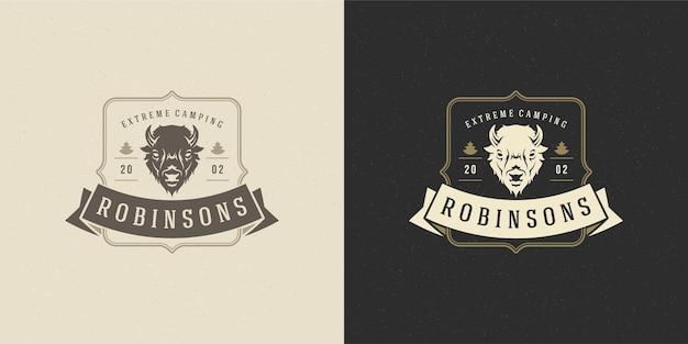 Bison hoofd logo embleem illustratie silhouet voor shirt of print stempel Premium Vector