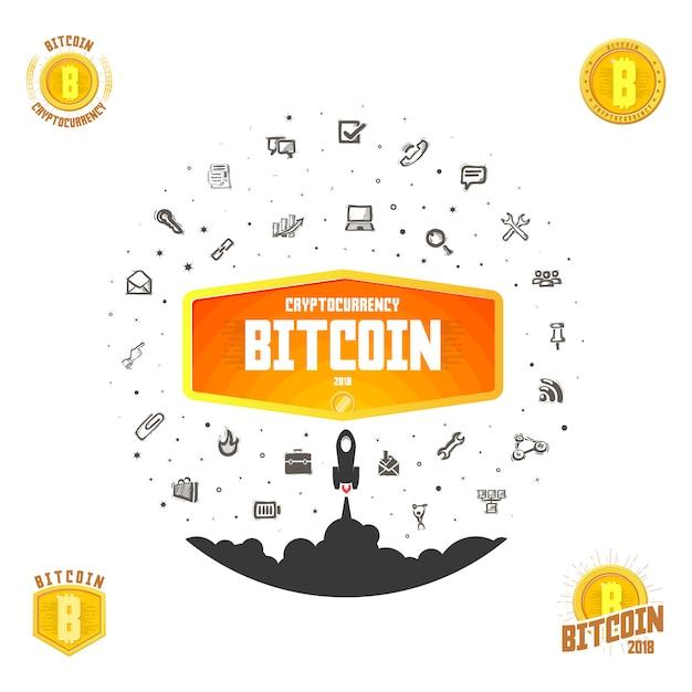 Bitcoin-badge Premium Vector