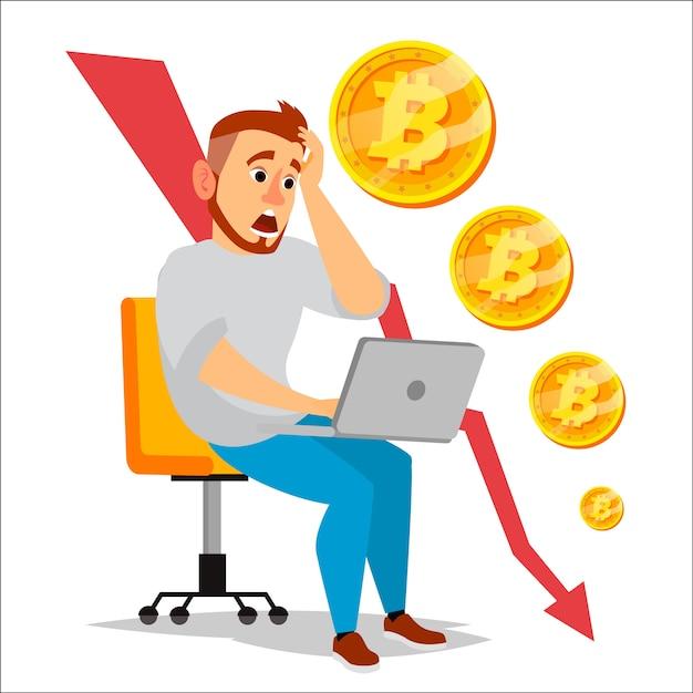 Bitcoin-crashgrafiek Premium Vector