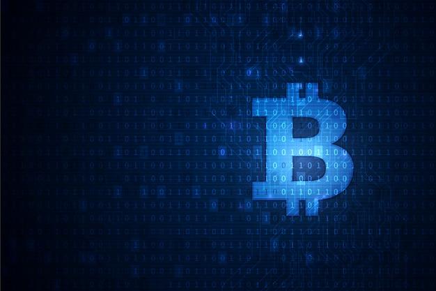 Bitcoin cryptocurrency blockchain technologie achtergrond Premium Vector