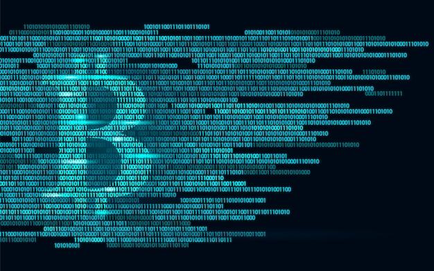 Bitcoin digitaal cryptocurrency-teken binair codenummer, big data Premium Vector