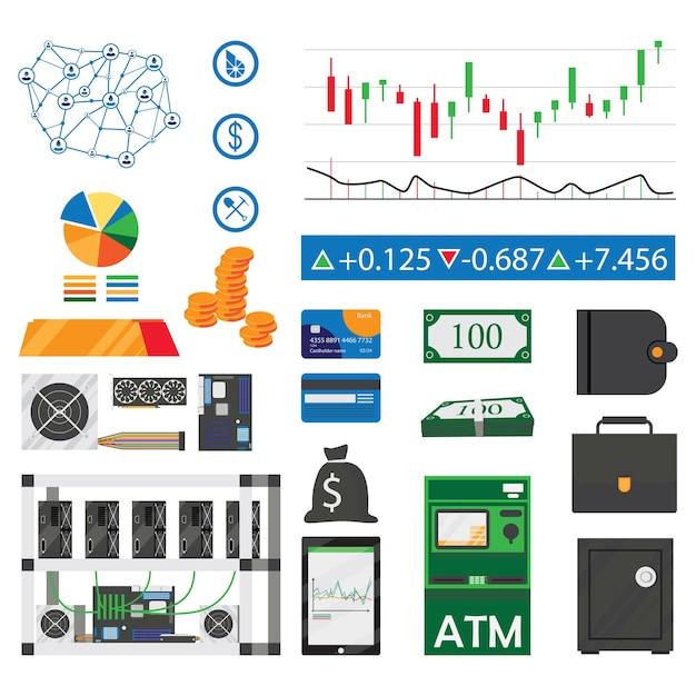 Bitcoin en crypto mijnbouw plat pictogrammen instellen geïsoleerd Premium Vector