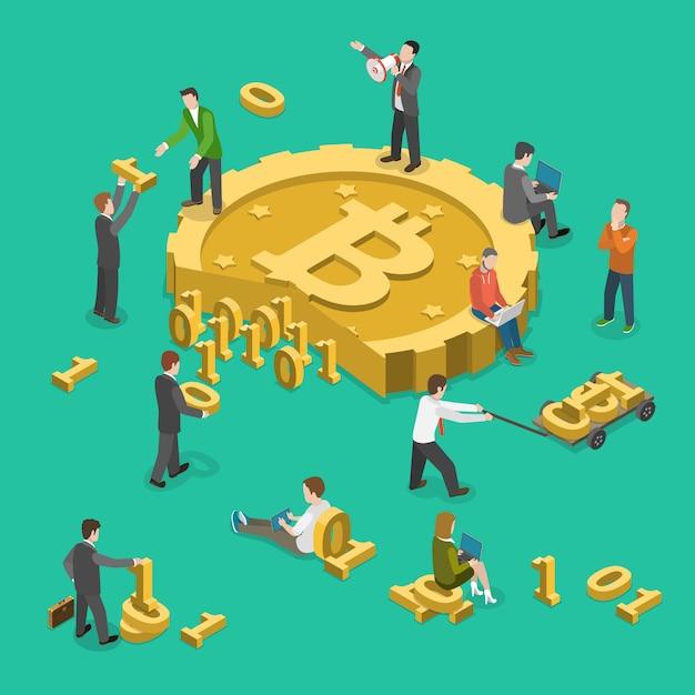 Bitcoin mijnbouw plat isometrisch laag poly vectorconcept Premium Vector