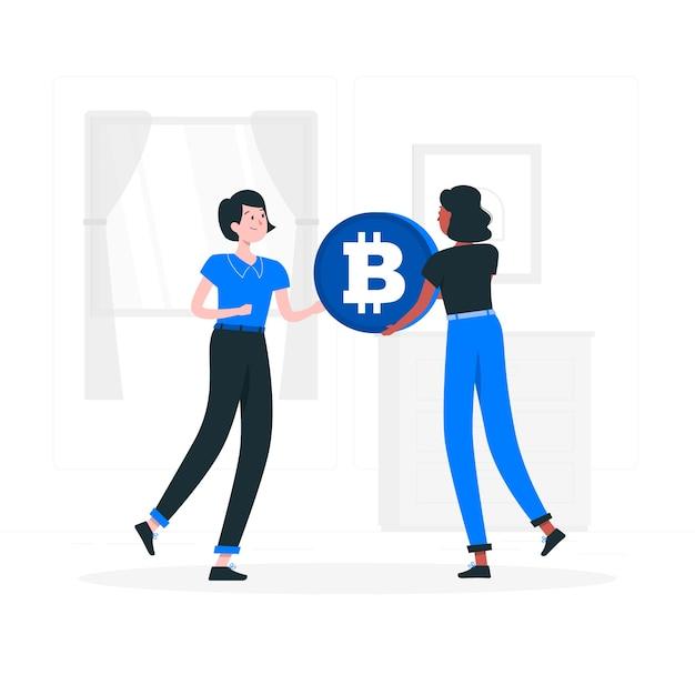 Bitcoin p2p concept illustratie Gratis Vector