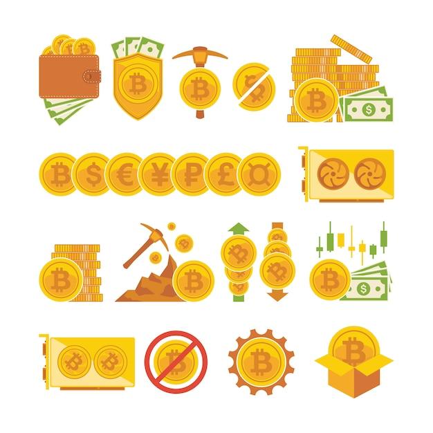 Bitcoin pictogramserie. bitcoin digitaal geld, cryptocurrency-systeem en mijnbad. Premium Vector